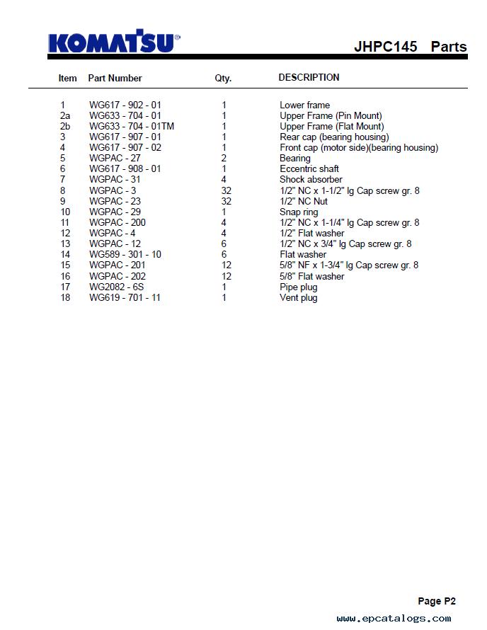 Komatsu JHPC145 Parts, Safety, OM manual PDF