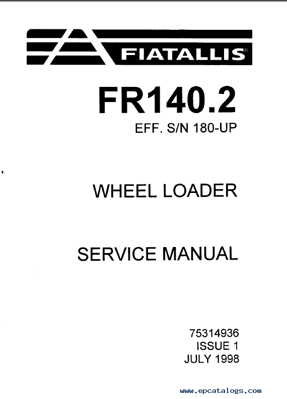FiatAllis FR140.2 Loader Operation Maintenance Service PDF