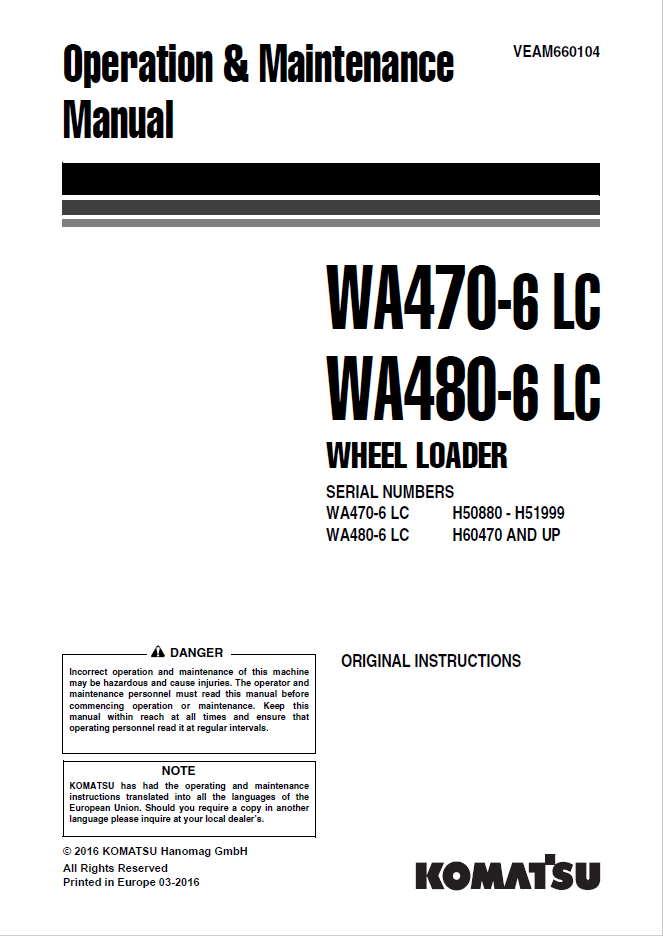 Komatsu WA470-6LC, WA480-6LC Wheel Loader Manual PDF