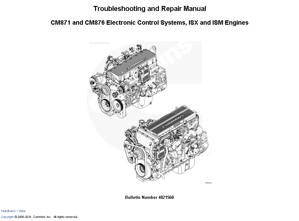 Cummins CM871, CM876 Control Systems, ISX, ISM Engines