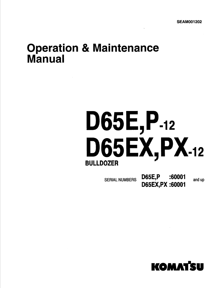 Komatsu Bulldozers D65E,P-12, D65EX,PX-12 Set of Manuals