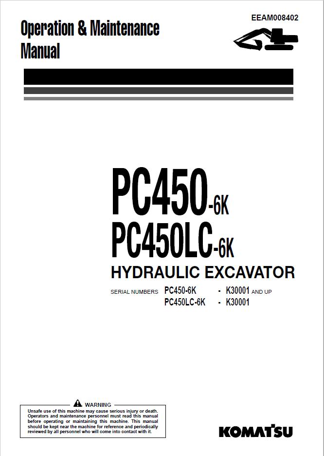 Komatsu Excavator PC450-6K, PC450LC-6K Manual PDF