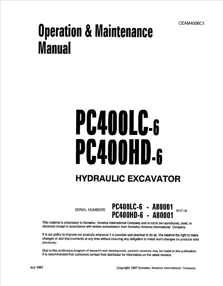 Komatsu Excavator PC400LC-6, PC400HD-6 Manual