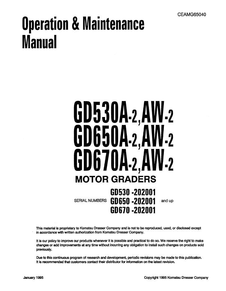 Komatsu Motor Graders GD530A/GD650A/GD670A-2, AW-2