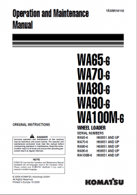 Komatsu Wheel Loader WA65/WA70/WA80/WA90/WA100M-6