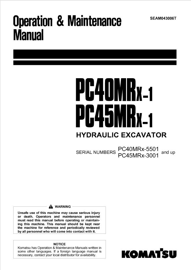 Komatsu PC40MRX-1, PC45MRX-1 Excavator Manual