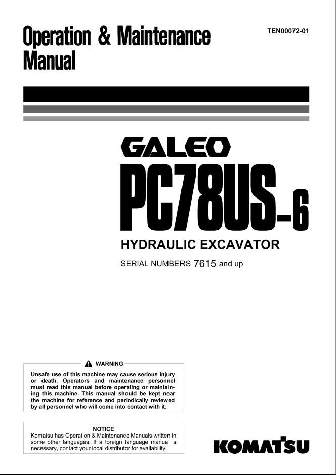Komatsu Excavator PC78US-6, PC78UU-6 Manuals PDF