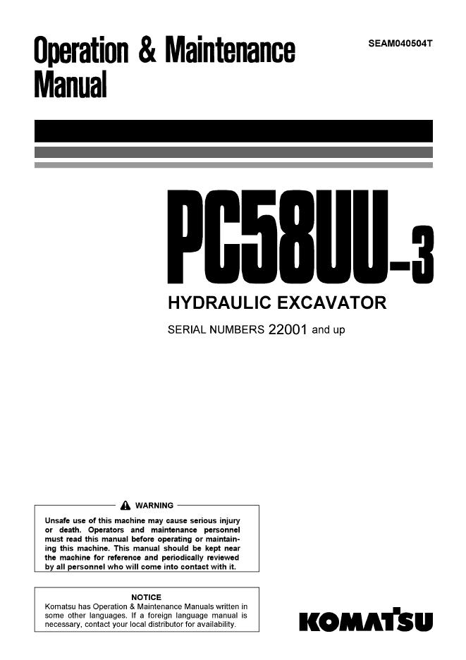 Komatsu Excavator PC58UU-3 Set of Manuals Download