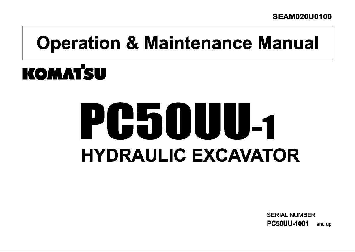 Komatsu Hydraulic Excavator PC50UU-1 Set of Manuals PDF
