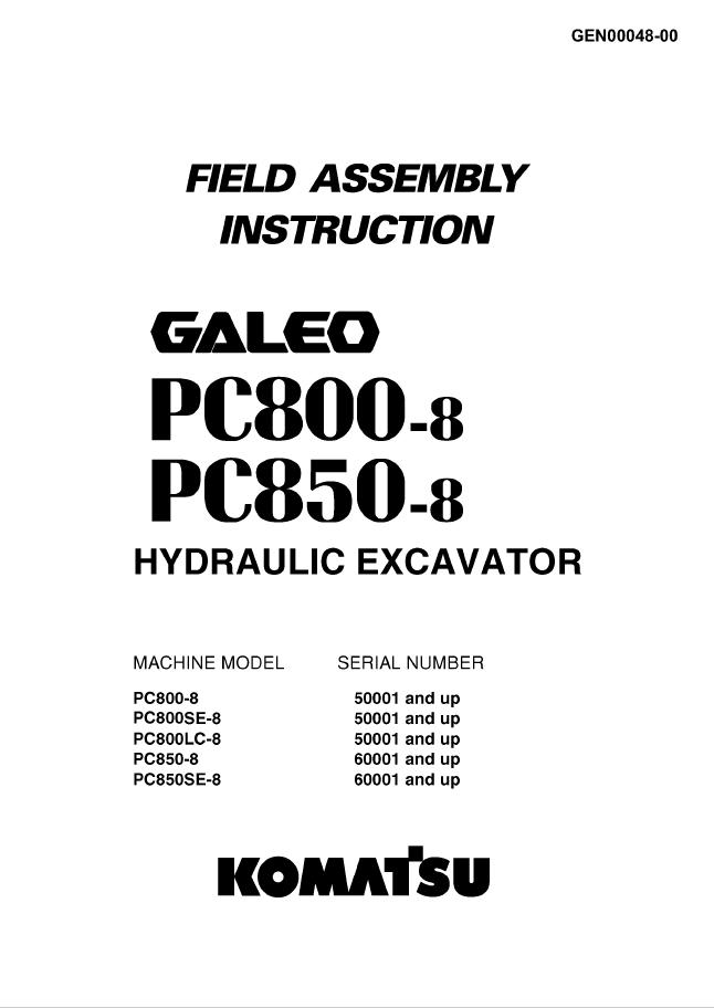 Komatsu PC800-8, PC850-8 Field Assembly Instruction