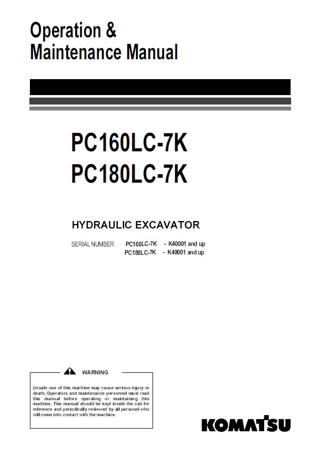 Komatsu Excavator PC160LC-7K, PC180LC-7K Manual