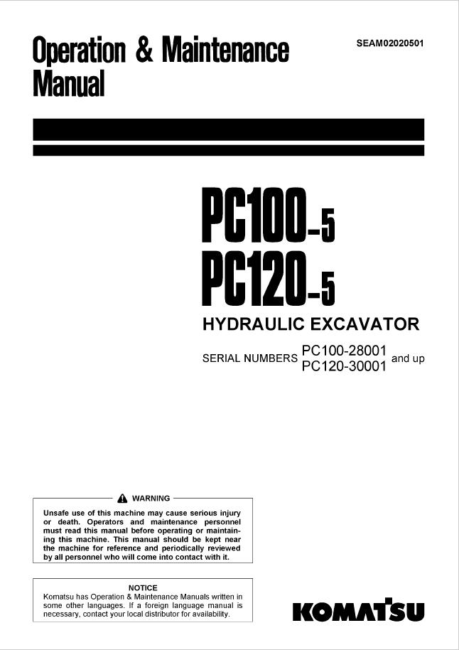 Komatsu Excavator PC100-5, PC120-5 Manual Download