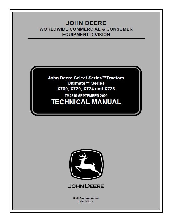 John Deere X700 X720 X724 X728 Tractors PDF Manual