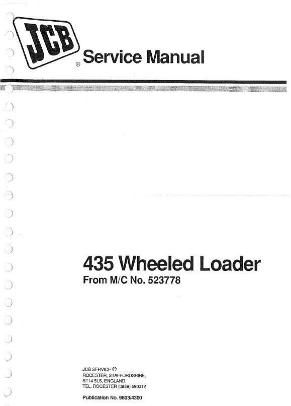 Download JCB Wheeled Loader 435 Service Manual PDF