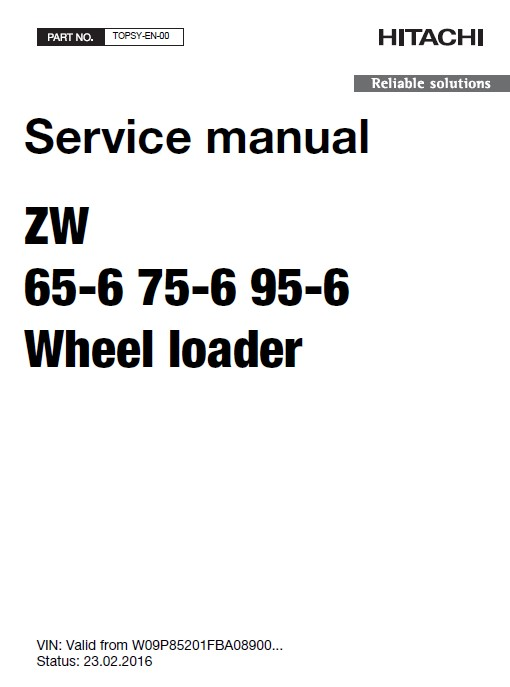Download Hitachi Wheel Loader ZW65/75/95-6 Service PDF