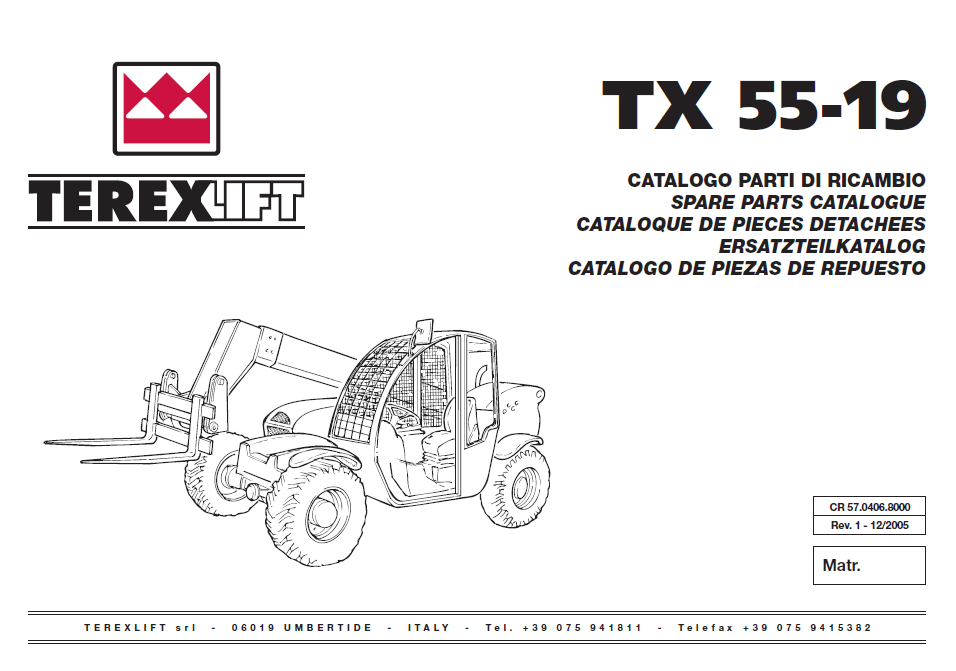 Terex TX55-19 Lift Download Parts Catalogue in PDF