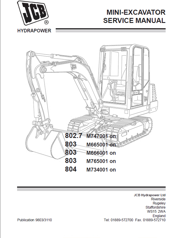 Download JCB Mini Excavators 802.7, 803, 804 Service