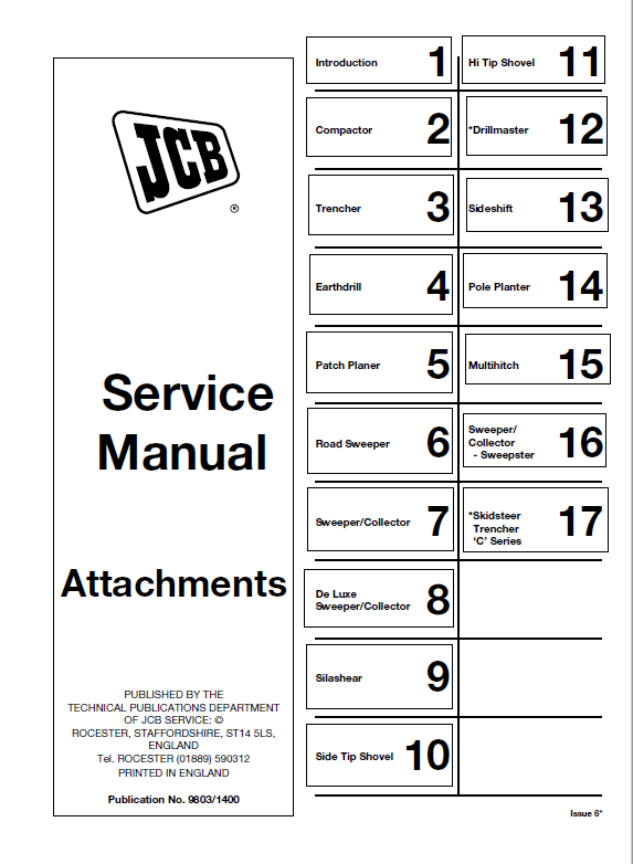 JCB Attachments Service Manual PDF