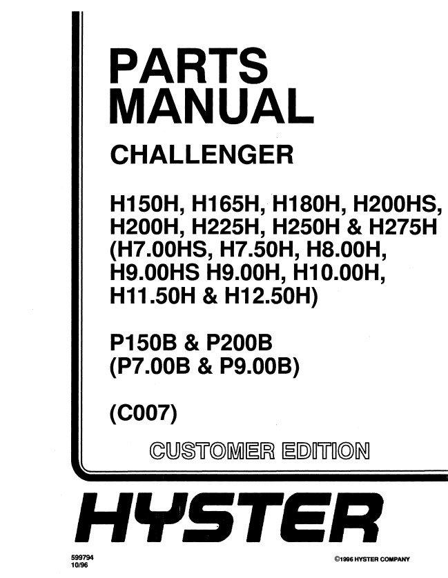 Hyster Challenger C007 Forklifts PDF Manual