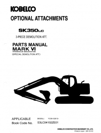 Kobelco SK350LC Mark VI Excavators PDF Parts Manual