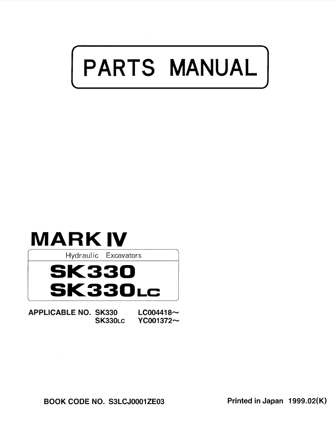 Kobelco SK330 SK330LC Excavators Parts Manual PDF Download