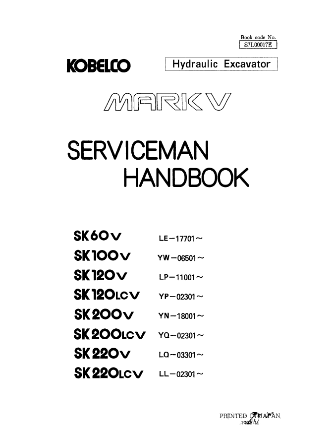 Kobelco Mark-V Excavator Serviceman Handbook PDF Download