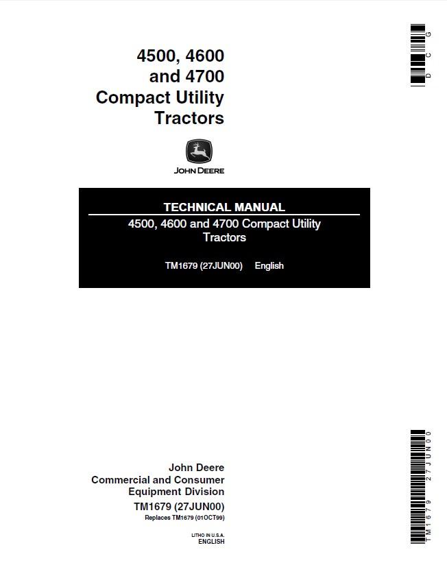 John Deere 4500 4600 4700 Compact Utility Tractors TM1679