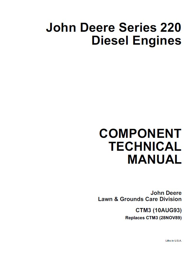 John Deere Series 220 Diesel Engine CTM3 PDF Manual