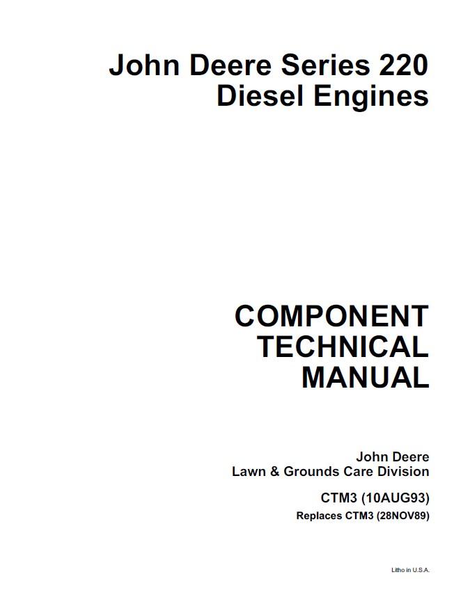 John Deere Series 220 Diesel Engine CTM3 PDF Manual