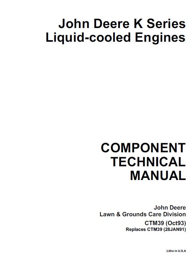 John Deere K Series Liquid-Cooled Engines CTM39 PDF