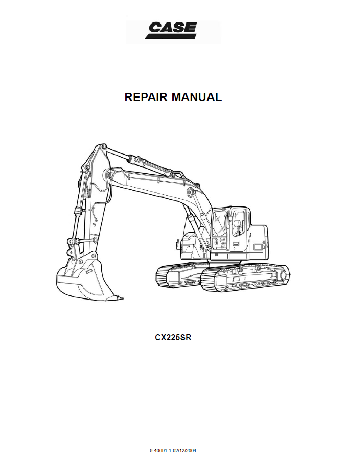 Case CX225SR Crawler Excavator Repair Manual PDF