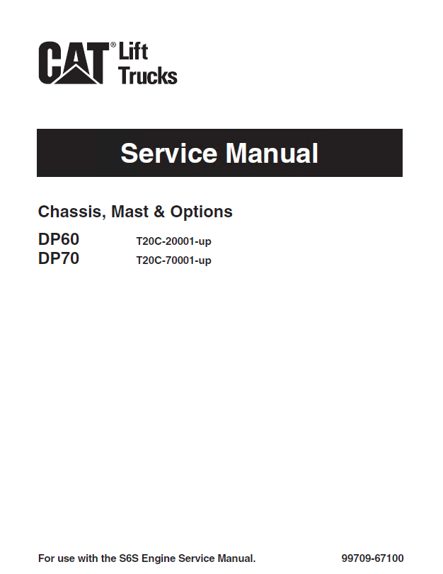 caterpillar DP60 & DP70 Forklifts Service Manual PDF