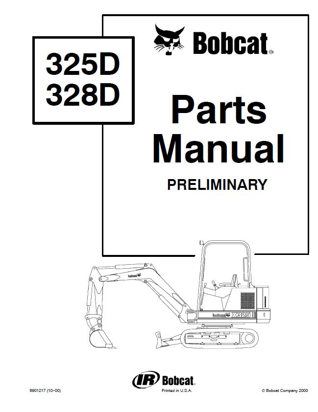 Bobcat 325 328 D-Series Excavator Parts Manual Preliminary