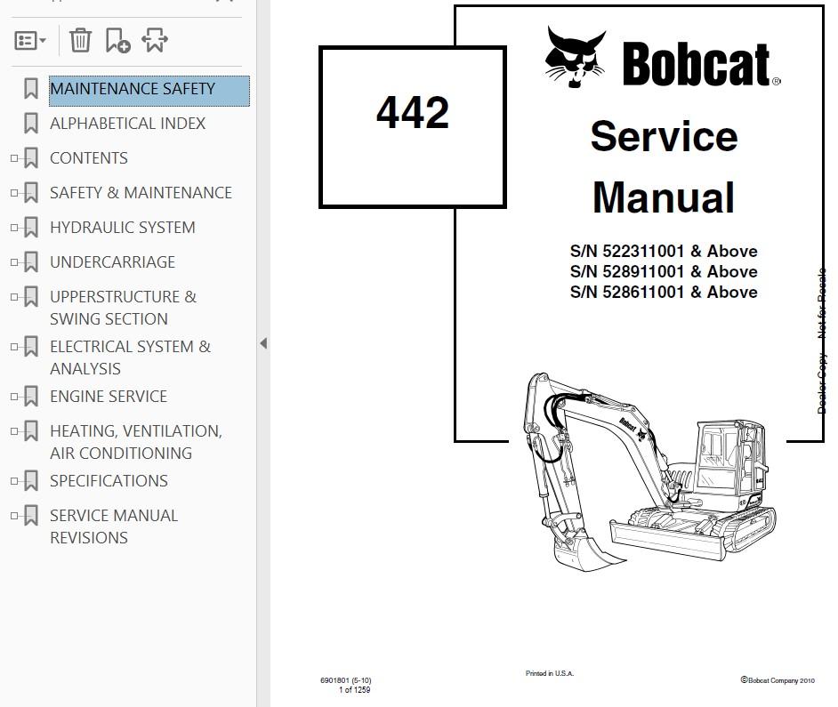 Bobcat 442 Compact Excavator Service Manual PDF