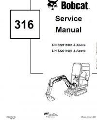 Bobcat 316 Excavator Service Manual PDF