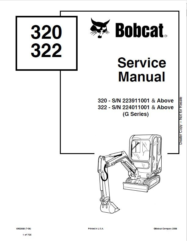 Bobcat 320, 322 (G Series) Excavator Service Manual PDF