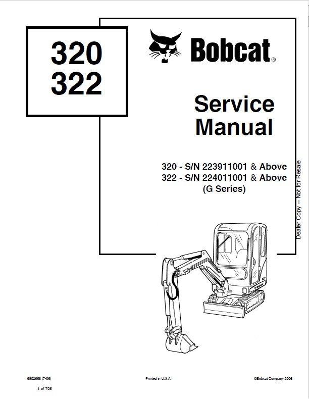 Bobcat 320, 322 (G Series) Excavator Service Manuals PDF