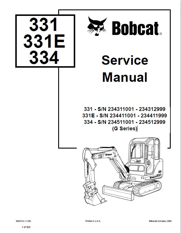 Bobcat 331 331E 334 Excavator G-Series Service Manual PDF