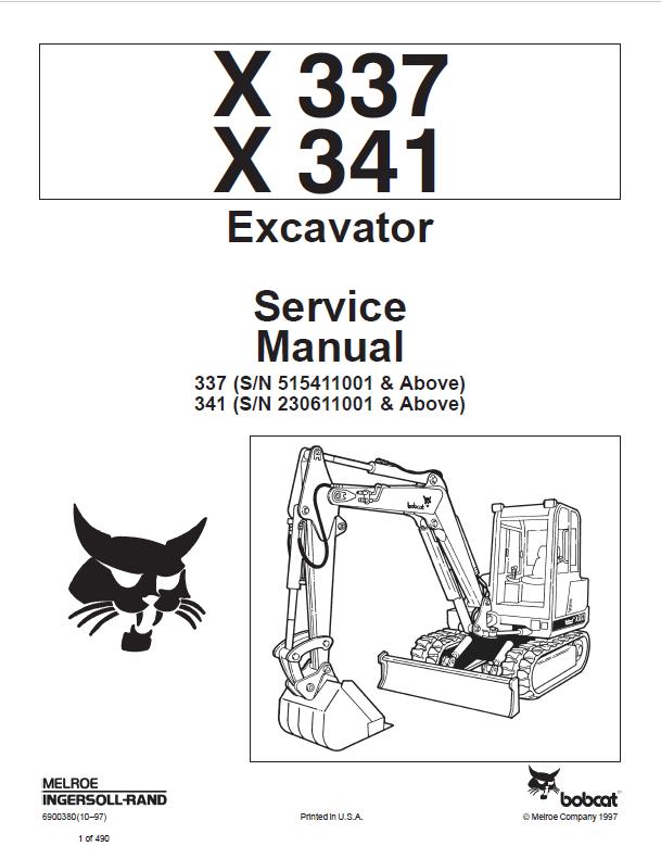 Bobcat X 337, X 341 Excavator Service Manual PDF