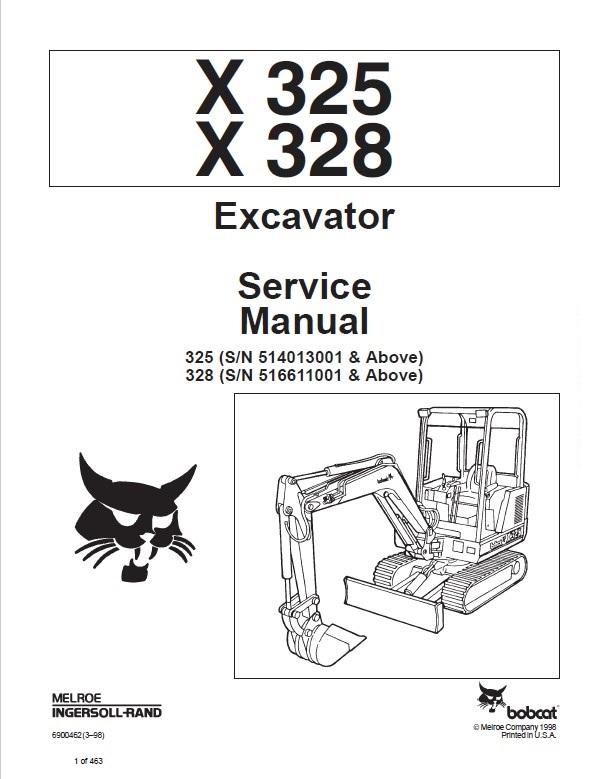 Bobcat X 325, X 328 Excavator Service Manual PDF