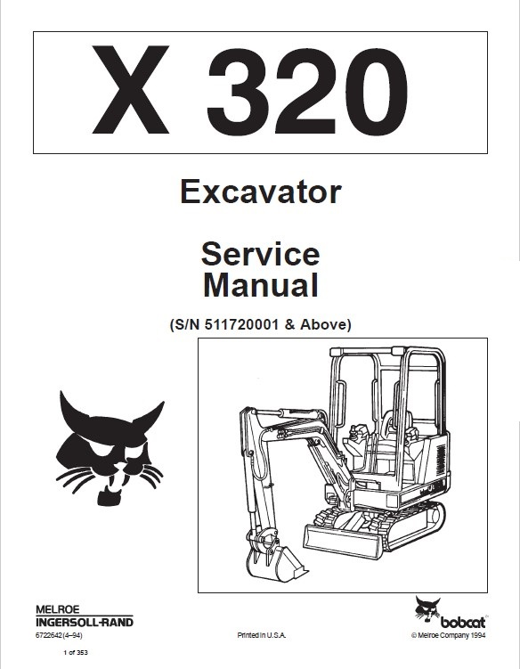 Bobcat X 320 Excavator Service Manual PDF