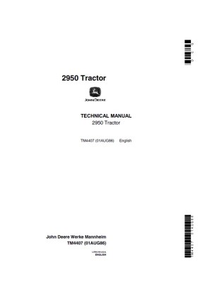 John Deere 2950 Tractor Technical Manual TM4407 PDF