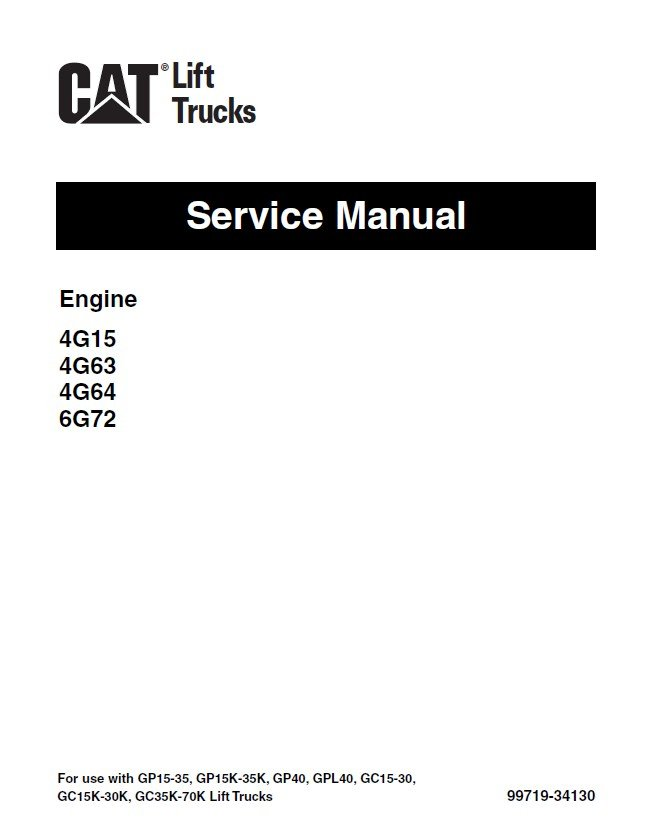 caterpillar 4G15 4G63 4G64 6G72 Engine Service Manual PDF