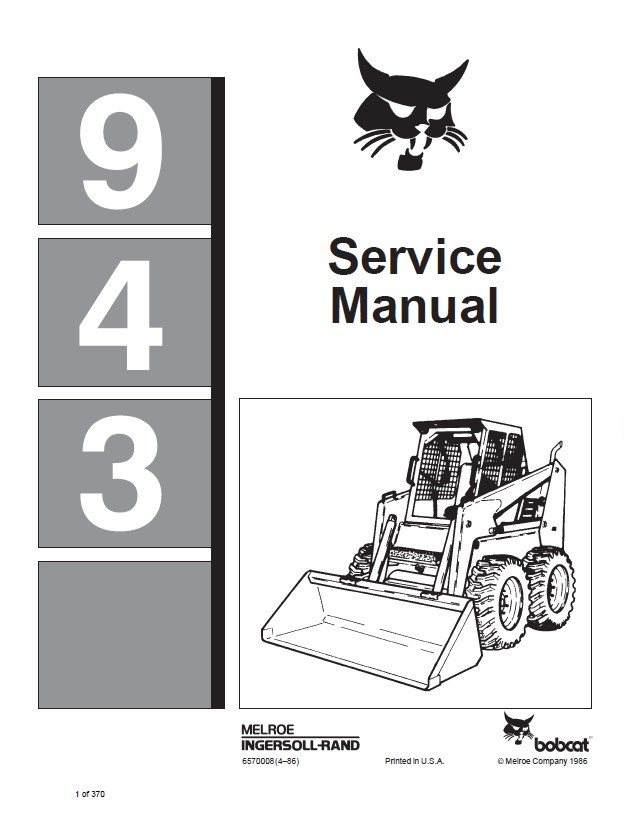 Bobcat 943 Loader Service Manual PDF