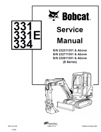 Bobcat 331 331E 334 Excavator D-Series Service Manual PDF