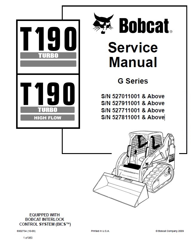 Bobcat T190 Turbo T190 Turbo HF Loader Service Manual PDF