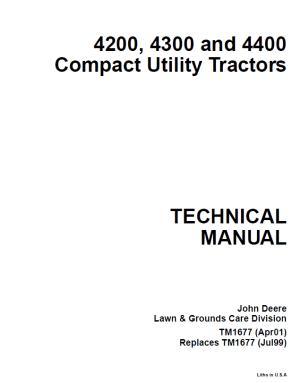 John Deere 4200 4300 4400 Compact Utility Tractor Service Manual PDF