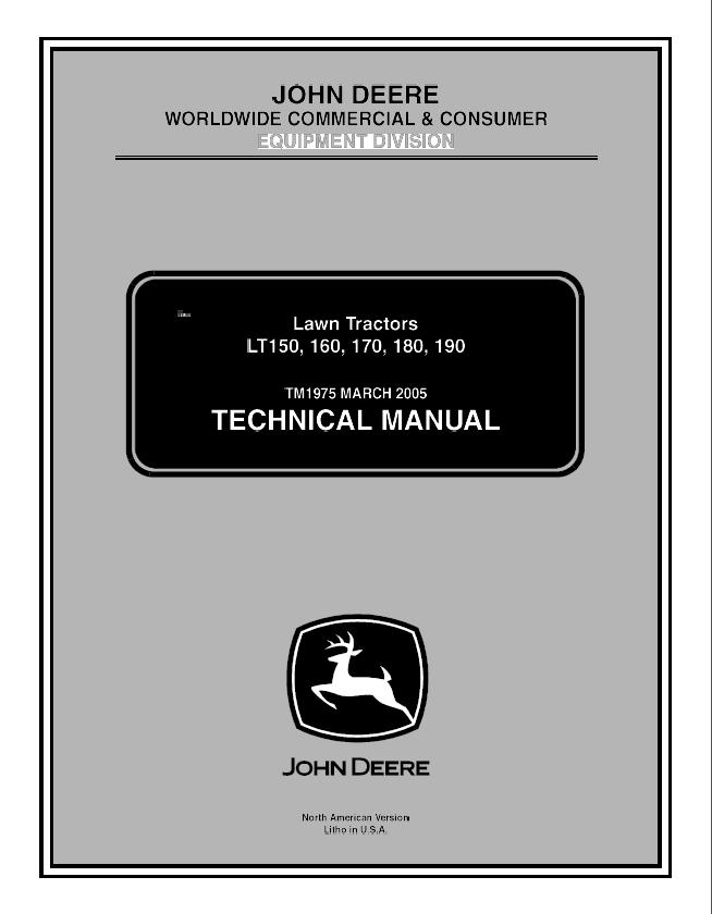 John Deere LT150/160/170/180 Lawn Garden Tractor PDF