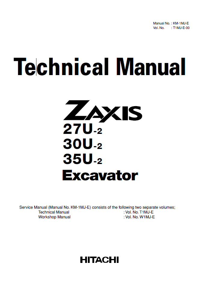 Hitachi Zaxis 27U-2 30U-2 35U-2 Excavator PDF Manual