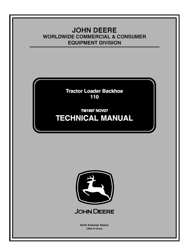 John Deere 110 Tractor Loader Backhoe Technical Manual